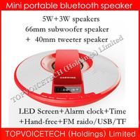 Nizhi SDY-021 wireless subwoofer tweeter speaker,mini Bluetooth Speaker Sardine FM Radio LED screen Clock,Time,3000mah.50pcs