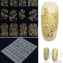 Fashion Women Unique Beauty One Sheet Golden DIY 3D Nail Stickers Adesivos Decals Manicure for Nail Foil Tools Art Decoration U8