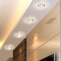 3W LED Ceiling spot lights Crystal lamp led entrance corridor lights AC85-265V modern hallway balcony lamp 12CM