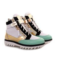 New  Fashion  GZ women  Zebra Print  gold Metallic Leather high-top sneaker Zipper Lace Up  Wedge Sneakers  Boots