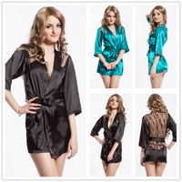R7639 Free shipping unique design sexi lingerie black and green sleep wear with belt decorated lace plus size babydoll