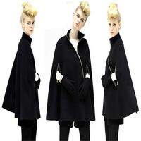 2014 Autumn Winter New Black Overcoat Thin Fashion Woman Jackets Mandarin Collar Oblique zipper Asymmetrical Sleeveless Coats