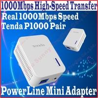 Tenda P1000 Pair AV1000 Power Line 1000Mbps Mini Adapter Extender, 1000Mbps wired connection, Gigabit Powerline, PROM10