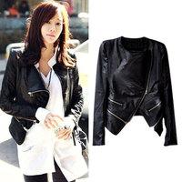 2014 Autumn Winter Coat Short Slim Turn Down Collar Motorcycle PU Leather Jacket Women Clothing Jaqueta Free Shipping WWP054