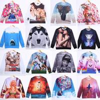 2014 new 3D mens hoodie fashion men's sweatershirt novelty tops cartoon forzen design plus size dropship