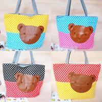 Big Cute Bear Cavas/Cotton Shoulder School bag/Shopping Bag/Mummy Bag Q0015, Free Shipping