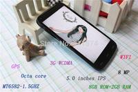 "Original Santin S960T 5.0""IPS GPS Wifi Octa Core GPRS MT6592 3G WCDMA/HSDPA+ 8GB+2GB Android 4.4 720 x 1280 pixels Case For Gift"