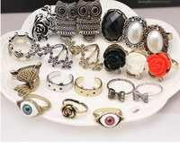 Hot Fashion Vintage Owl Butterfly Fox Animal Rings Rose Eye Flower Rings Simulation gemstone women ring mix order 36pcs