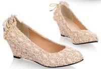 5 Colors Lace Women Platform Wedges Shoes Fashion 2014 New Pointed Toe Leather Women Pumps Ladies Comfortable Work Shoes 35-41
