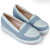 2014 European Square Toe Flats Leisure Spiraea Ballet Flats Shoes White Blue Women Shoe Free Shipping Large size Sneakers Woman