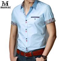 New 2015 Summer Casual Men Shirt Slim Fit Dress Shirts Print Camisa Social  Short sleeved Men's Blouses Size M-XXXL