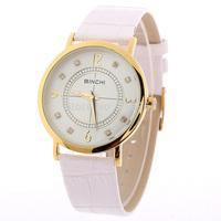 Moment Wholesale Ultra-thin Unisex Real Leather Brand Watches, Fashion Rhinestone Military Sports Leisure Quartz Watch