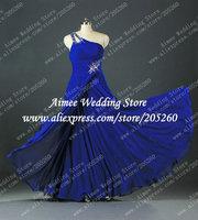 Real Beaded High Front Slit Strapless One Shoulder Royal Blue Evening Dress Long 2014 Vestidos De Festa Vestido Longo U116