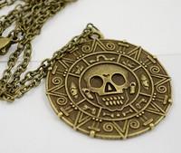 Vintage Pirate Necklace Sweater chain pendant pirate Aztec coins Caribbean round skull captain Jack bronze gold 24pcs