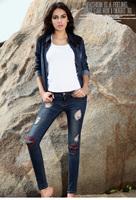 Autumn jeans hole women's pencil trousers mid waist  8019