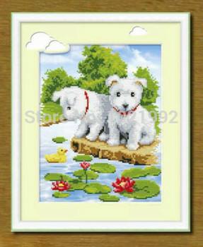 3D вышивка крестом комплект для комплект для вышивания точные печатные милая собака крест шить два щенка мультфильм детская комната бесплатная доставка