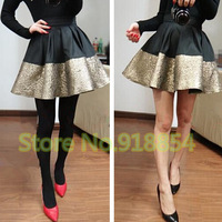 New 2014 spring summer Woman's Skirt Hit Color Stitching Gold and Black PU Leather  Big Skirts Bust Bud Skirt