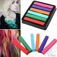 Hot 2014 New Non-toxic Temporary Salon 6 Colors Fashion Hair Chalk Color Powder Pastel Stick Brush Crayons For Hair Para Cabelo