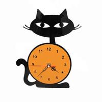 Free shipping creative home decor  cartoon cat wall clock personalized acrylic clocks black and orange clock silent movement