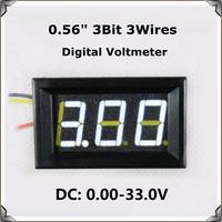 "White Display led Color 0.56"" DC0-33.0V Digital Voltmeter with shell 3 wires 3bit Variable precision Voltage Meter [4 pcs/lot]"