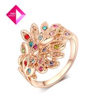 2014Colorful gold-plated female fashion imitation diamond peacock  ring,diamond jewelry,ring series