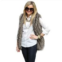 2014 Winter New Fashion Brand High Quality Faux Fur Vest Colete De Pele Plus Size S-XXXL Fur Waistcoat Women Outwear Jacket Coat