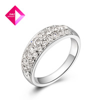 Jewelry inlaid genuine Austrian crystal three rows of gold-plated diamond ring,ring series