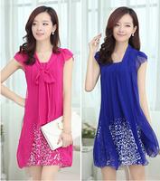 Summer dress 2014 New Women's casual plus size M-4XL knee length chiffon dress print dresses work wear clothing HHY9066LQ