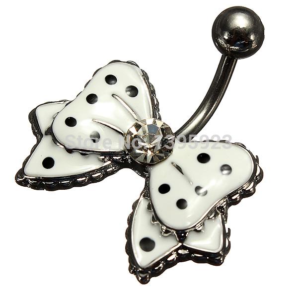 Hot Black Polka Dot White Bowknot Crystal Rhinestone Navel Belly Button Rings Bar Body Piercing Free Shipping(China (Mainland))