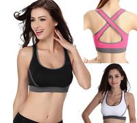 2014 Women's Sexy Double Running Yoga Seamless Racerback Back Cross Fashion Sports Half-length Bra Underwear Fitness Tennis Vest