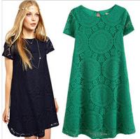 Hotselling European Style 2014 New High Street Woman Summer Lace Short  knitting Dress Green Red Blue White Dress  D