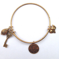 "The Zodiac ""Gemini"" Alex and Ani Bangle Antique Silver and Antique Gold Plated Alex&Ani Charm Whosale"