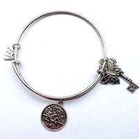 "Twelve Constellations The Zodiac ""Virgo"" Antique Gold and Antique Silver Plated Alex and Ani Bangle Whosale Alex and Ani Charm"