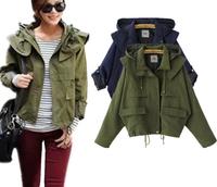 Fast/Free Shipping 2014 European Fashion Female Slim All-match Casual Hooded Coats Jackets Women Coat Jacket Autumn Clothing 8