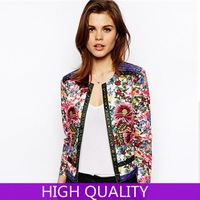 Jackets Women 2014 New Suit Jacket Long Sleeve Floral Printed Women Coats Ladies Casual Jackets Outwear Novelty Embroidery Coat