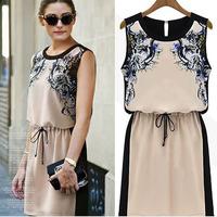 Fashion Women Sleeveless Tunic Dress Casual Summer Chiffon Printed Dress S-XL Free Shipping and Drop Shipping