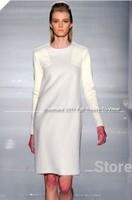 Free Shipping High Qaulity Faux Fur Winter Dress, Pu Patch Work Casual Dress, S M L White Women Dress!