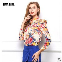 body new casual 2014  new women sexy long sleeve sheer blouse Slim puls size chiffon print  button blouse shirt  vintage top