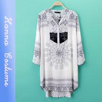 Fashion Women Long Sleeve Chiffon Shirt Vintage Printed Loose Top Blouse 2014 Autumn New Arrival