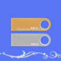 High Quality 2014 New Gift Gold Metal Key USB Flash Pen Drive pendrive 64GB Class 10 Card Memory Stick Drives  free shipping