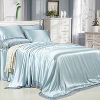 Hot Sale Hight Quality Solid Color 100%  Mulberry Silk 4 PCS Set Duvet Cover Set Home Textile Queen King