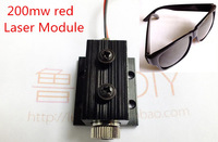 Laser Module mini engraving machine cnc pats 200mw red with holder Heat sink, free goggles