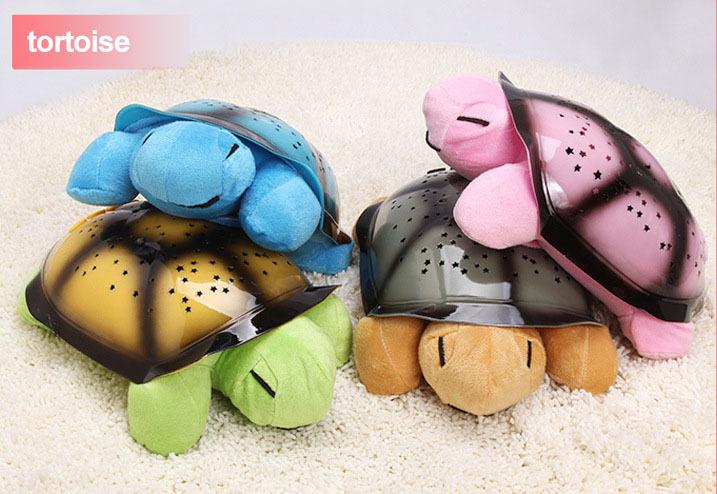 plush toys Mini Projector light animal stuffed turtle cuckold Tortoise Shadow Lamp Music child for Sleep,night light star gift(China (Mainland))