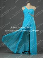 Real Light Blue High Slit Evening Dress Long 2014 One Shoulder Sweetheart Party Gown Elegnt U159