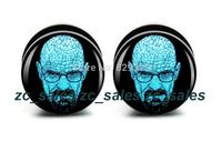 Wholesale 60pcs bald logo plug acrylic screw fit ear plug flesh tunnel ear gauges mix sizes 6mm-25mm A0207
