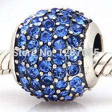 2014 New Simple 925 Sterling Silver beads for women Charms Blue Crystal Jewelry  fit pandora bracelets & necklaces