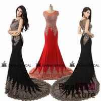 XU008 Chiffon Crystal long evening dresses women 2014 Black Mermaid Party Dress Luxury Chiffon Long Evening Dresses 2014