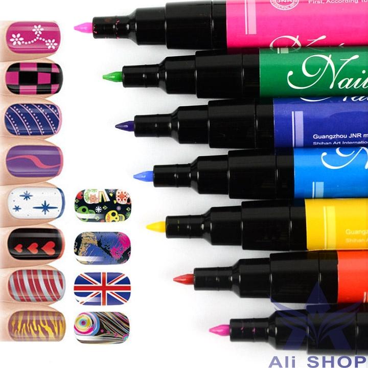 12pcs/lot Nail Art Pen Paint Drawing Pen Nail Tools for French Manicures 12 colorful neon Gel Nail Polish Set Nail tools 18955(China (Mainland))
