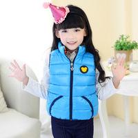 New Brand 2014 High Quality Girls Vest Children Down Vest Candy Colors Girls Waistcoat Winter Coat Kids Warm Children Outerwear