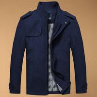 Top Sale 2015 Classic Woolen Autumn And Winter Jacket Stand Collar Men Trench Coat Brand New Man Overcoat Famous Designe  RY0383